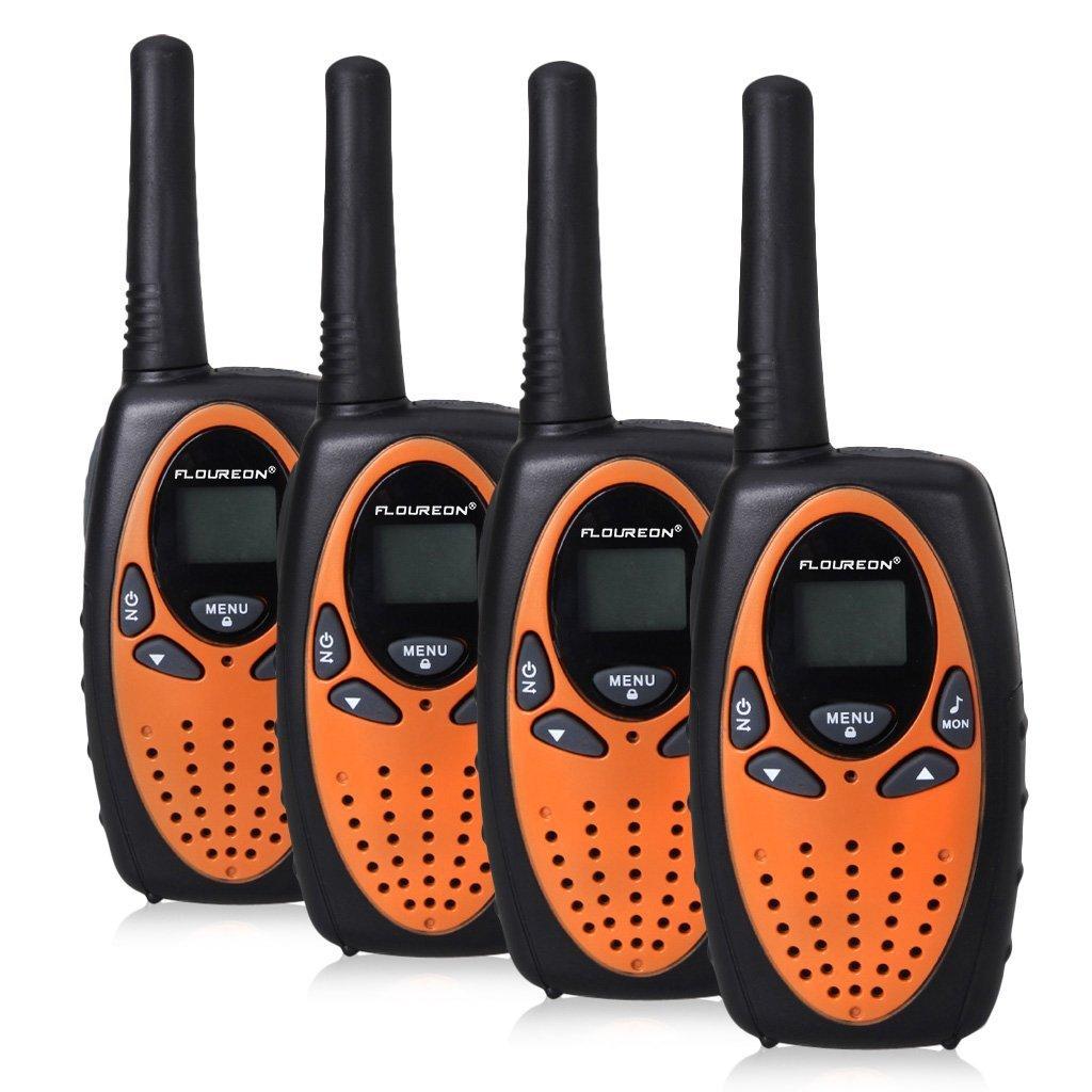 FLOUREON 4 Packs Walkie Talkies Two Way Radios 22 Channel 3000M (MAX 5000M Open Field) UHF Long Range Handheld Talkies Talky (Orange) by floureon