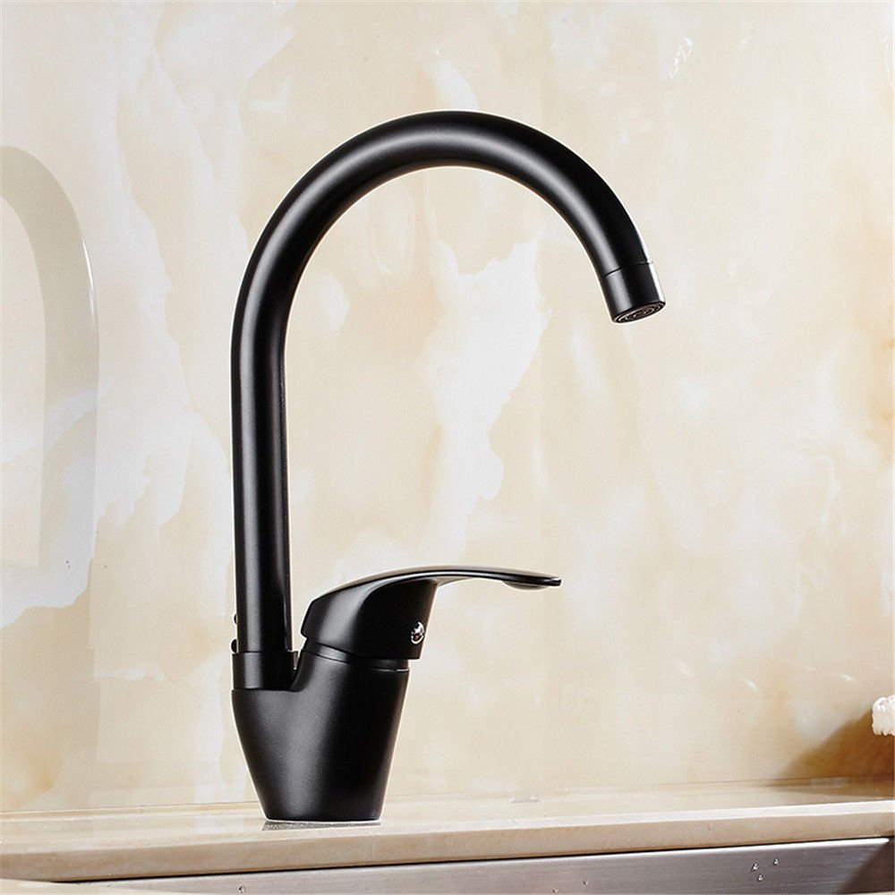 IJIAHOMIE Style of Bathroom Sink Taps, Bathroom Faucets,Waterfall Basin Sink Mixer Tap Modern All Copper Black Kitchen Ingot Sink Sink Cold Tropical Shower