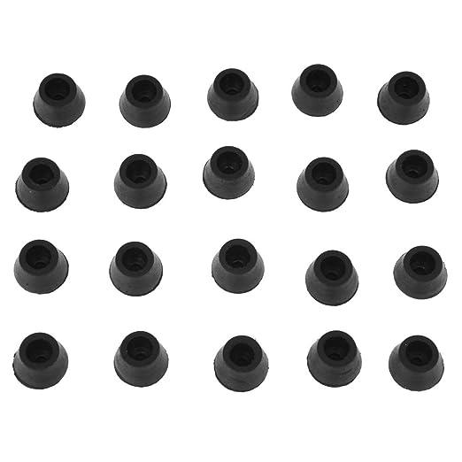 20PCS de protector de almohadilla de pie de Silla de Gaucho negro de la tabla de muebles de 16 mm Diametro R TOOGOO