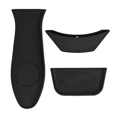 Mykubi Silicone Hot Handle Holder/Covers 3PCS Pot Holders Cover Rubber Hot Resistant Non Slip Pot Holder Sleeves for Cast Iron Skillets Metal Frying Pans Aluminum Cookware Handles (Black)