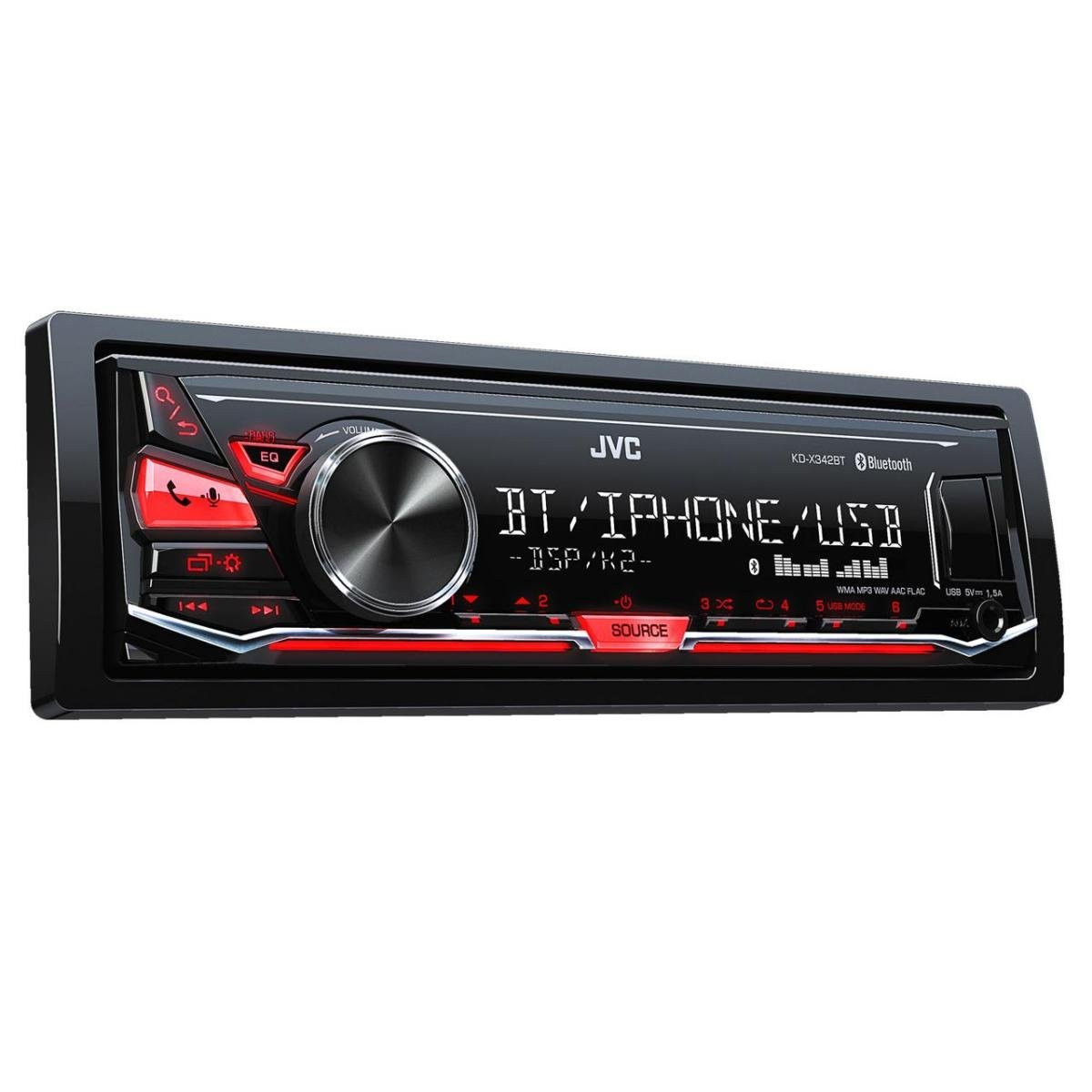 JVC KD-X342BT Mechless Bluetooth Tuner with USB, Aux, Iphone and Android Control