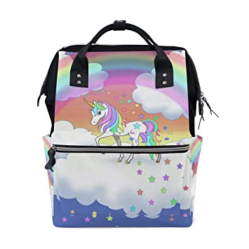 737741112566 Amazon.com   Diaper Bags Rainbow Unicorn Clouds and Stars Fashion Mummy  Backpack Multi Functions Large Capacity Nappy Bag Nursing Bag for Baby Care  for ...