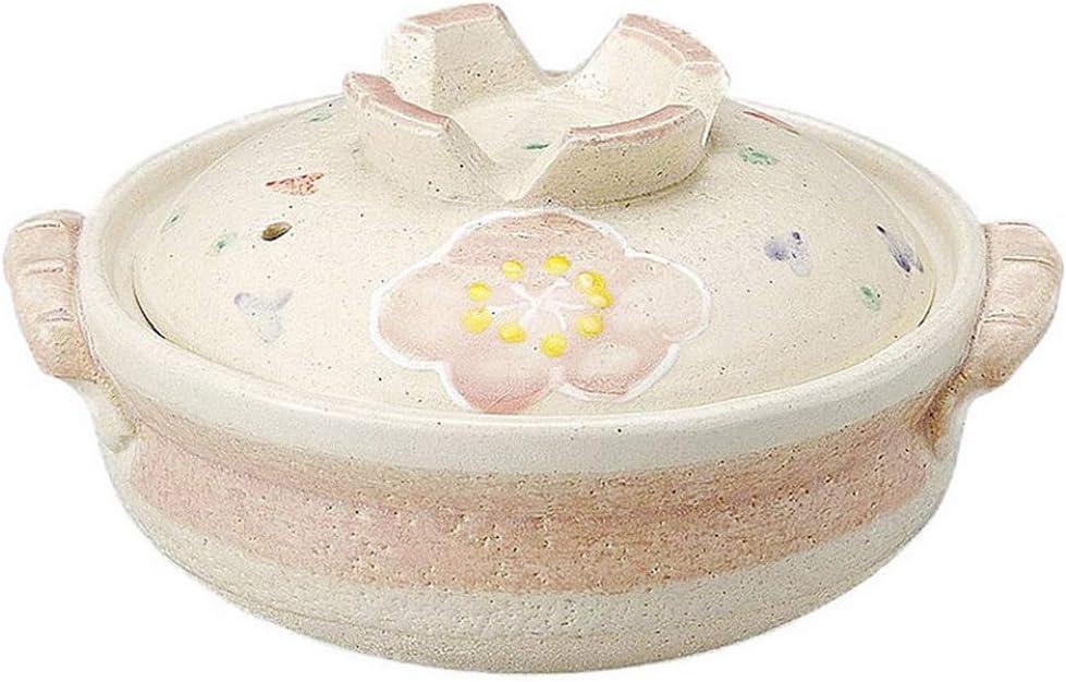 AMYZ Japanese Donabe Hot Pot,Round Ceramic Casserole with Lid,Printed Earthenware Clay Pot,Clay Rice Cooker,Heat-Resistant Stockpot Stew Pot,Health Saucepan Sakura 2.2l