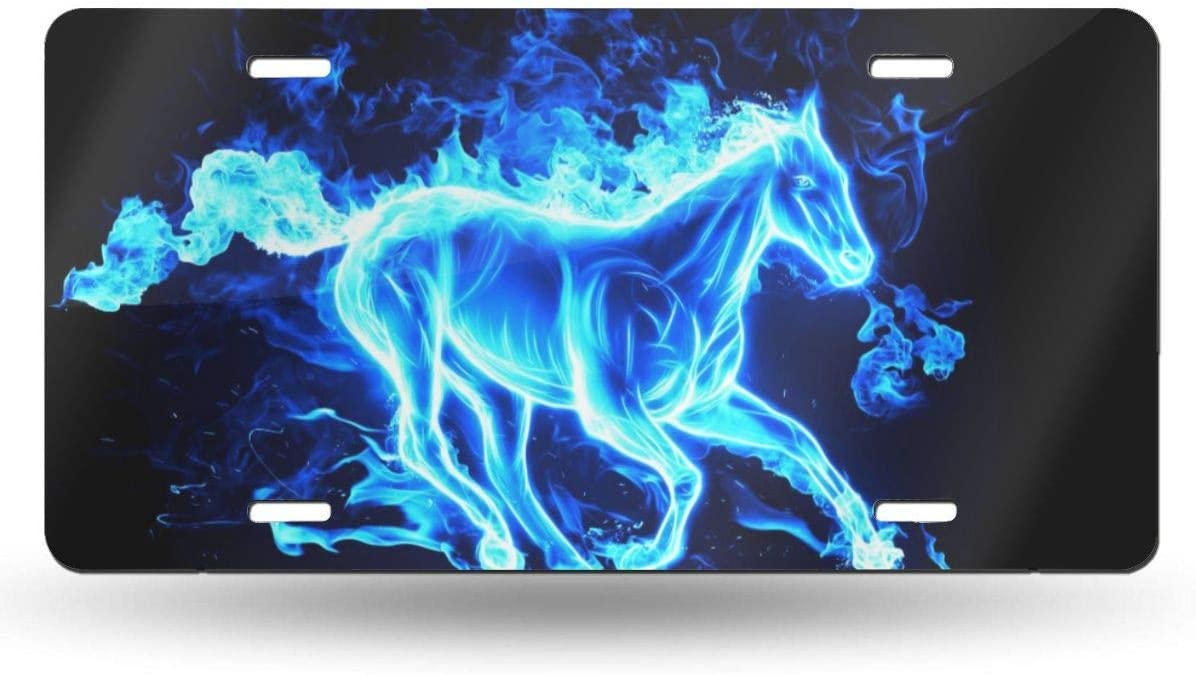 Anwei Blue Fire Running Horse Novelty Car 6x12 Aluminum Front Vehicle License Plate Frame Vanity Tag Sign