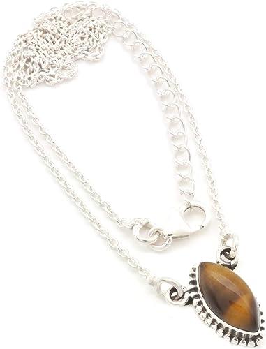 Kette mit Tigerauge Halskette Kettenanhänger 925 Silber braun