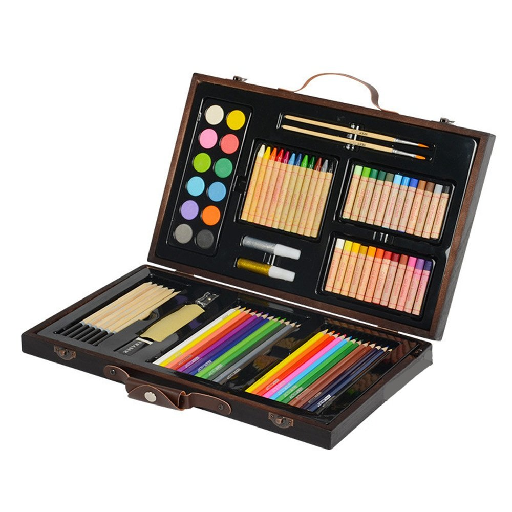 Stationery Gift Box 86 Piece Set Painting Brush Wooden Box Birthday Gift Art Stationery School Supplies