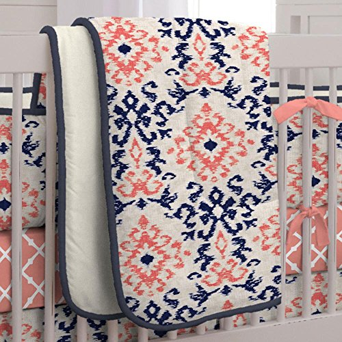 Carousel Navy and Coral Ikat 3-Piece Crib Bedding Set