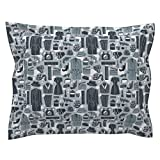 Roostery Movie Standard Flanged Pillow Sham Film Noir//Silent Movies Film Andrea Lauren Fabric by Andrea Lauren Natural Cotton Sateen made by
