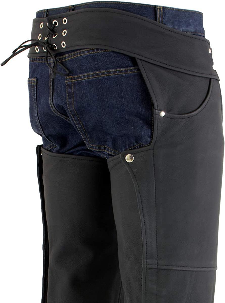 3X-Small Xelement XS15000 Flat Black Mens Leather Black Chaps with Jean Pockets