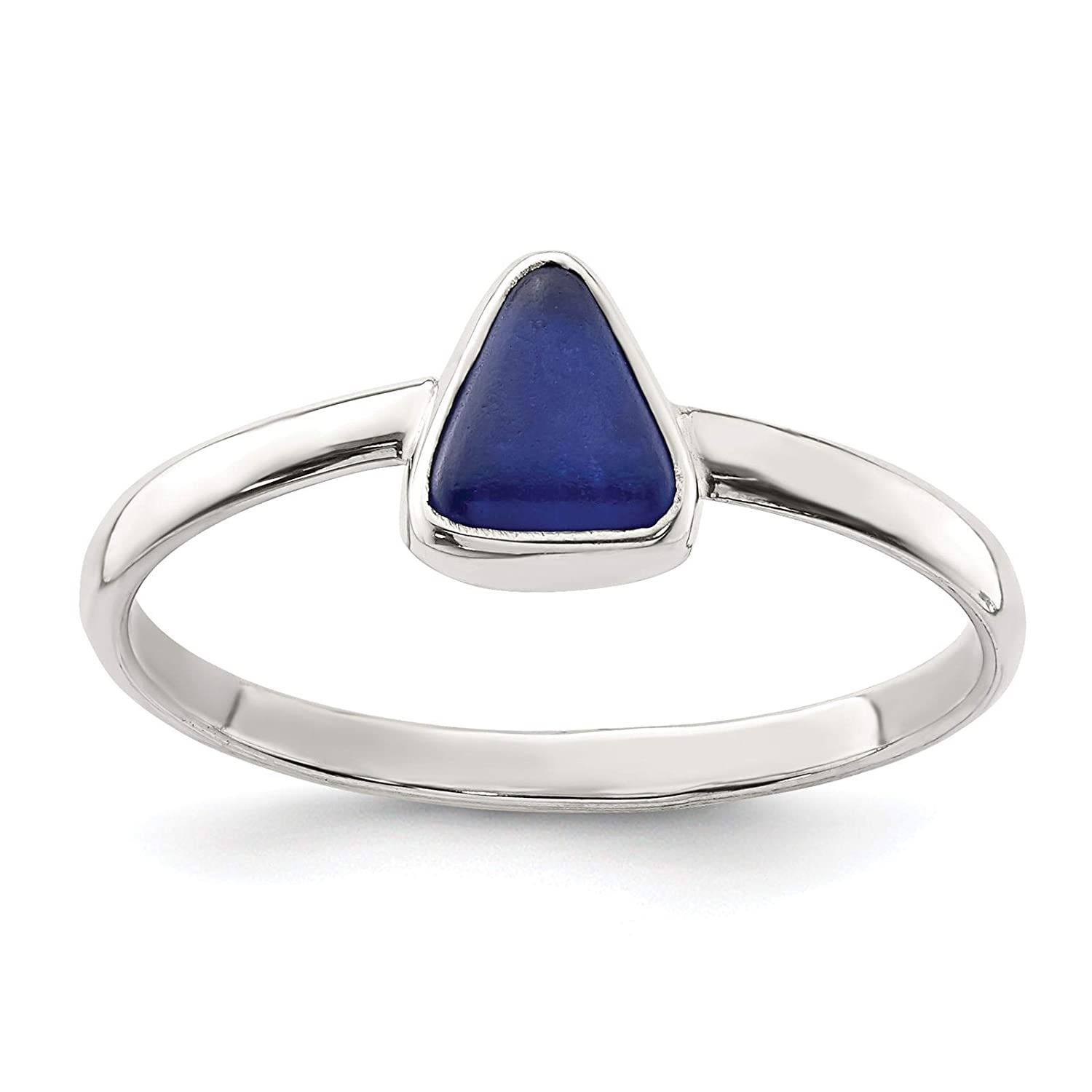 925 Sterling Silver Polished Blue Sea Glass Triangle Ring Size 6-8