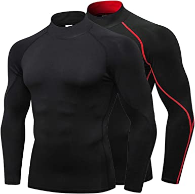 Red Dry Fit Long Sleeve Compression Shirt