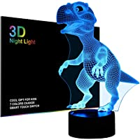 3D Night Lights for Children Kids Night Lamp Dinosaur Toys for Boy 7 LED Colors Changing Lighting Table Desk Bedroom Decoration Toys Gifts Idea Xmas Gift