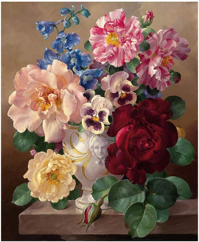 Dontdo - Pintura al óleo pintada a mano con diseño de flores por números, para decoración del hogar, sin marco, algodón, lino, 1#, talla única