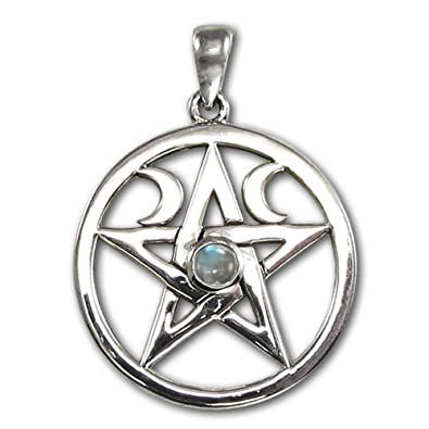 Amazon sterling silver moon pentacle pentagram pendant with sterling silver moon pentacle pentagram pendant with rainbow moonstone mozeypictures Choice Image