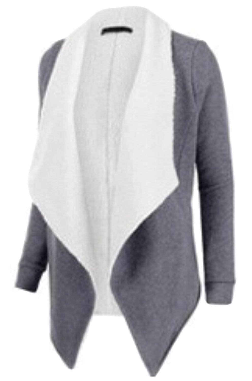 Unko Women Fashion Slim Fit Thick Lapel Woolen Cardigan