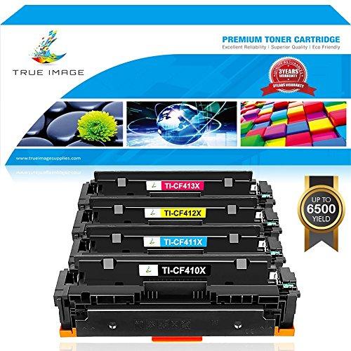 True Image 4Pack Compatible HP 410X Toner 410A CF410X CF410A CF411X CF412X CF413X for HP Color LaserJet Pro MFP M477fdn M477fnw M477fdw M477 M452nw M452dn M452dw M452 M377dw Printer Toner Ink
