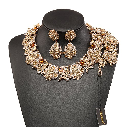 Holylove Tawny Retro Style Statement Necklace Bracelet Earrings for Women Novelty Jewelry Set 1 with Gift Box-8041BTawny (Gold Costume Jewelry Earrings)