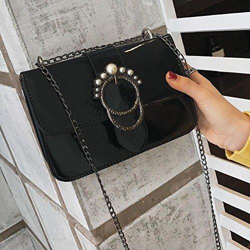 Sac Cabina Crossbody Femmes Sac Bag Messenger PU en Rétro Noir La Lumineux Cuir Fille à D'épaule Bandoulière nExdgg4BO