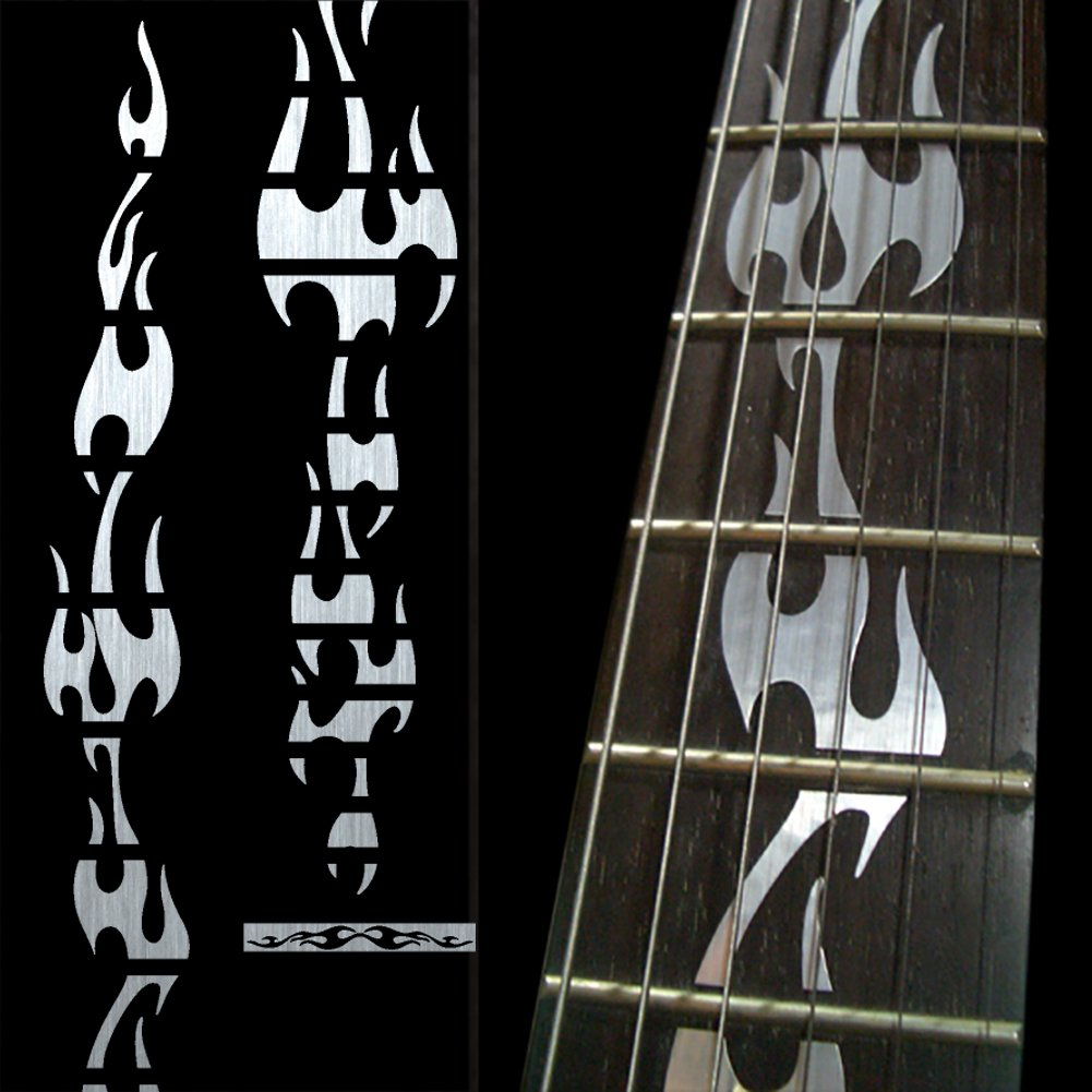 Fretboard Markers Inlay Sticker Decals for Guitar - Fire Flames - Metallic
