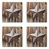 Ambesonne Primitive Country Coaster Set Four, Antique Rusty Star Figure on the Weathered Wooden Planks Vintage Retro Image, Square Hardboard Gloss Coasters Drinks, Brown