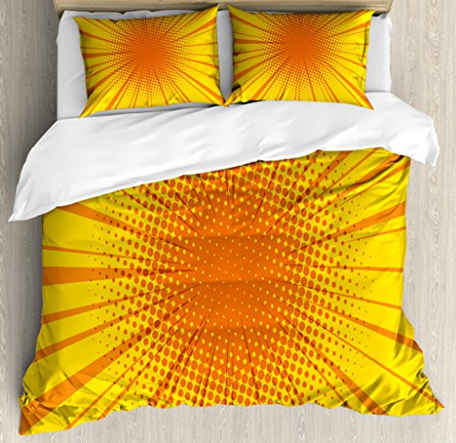 Ambesonne Vintage Yellow Duvet Cover Set, Sun Burst with Halftone Effect Comic Book Style and Pop Art Design, Decorative 3 Piece Bedding Set with 2 Pillow Shams, Queen Size, Orange Yellow