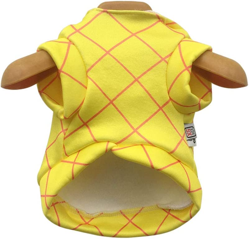 WORDERFUL Dog Halloween Pineapple Costume Pet Cosplay Clothing Puppy Funny Outerwear for Party French Bulldog Festive Hooded Clothes Cats Adorable Yellow Habiliment