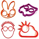 AKOAK 4 Piece Set Reusable Non Stick Silicone Fried Egg Molds Pancake Rings - Funny Style with Bunny, Owl,Sun Cloud and Glasses Man - Bakeware Accessories Kitchen Tools