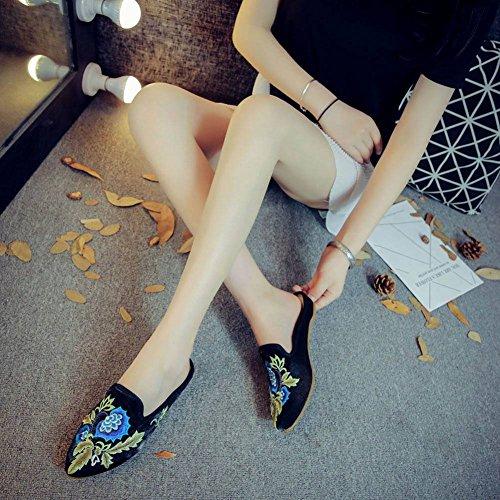 Baobao Kvinna Kinesisk Blommor Broderi Backless Slip På Loafers Mules Tofflor Skor Black & Blå Blommor