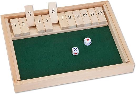 Bits and Pieces Cierre de Madera de la Caja 12 Dice Juego de Mesa clásico de sobremesa versión del Popular Juego Pub Inglés: Amazon.es: Juguetes y juegos