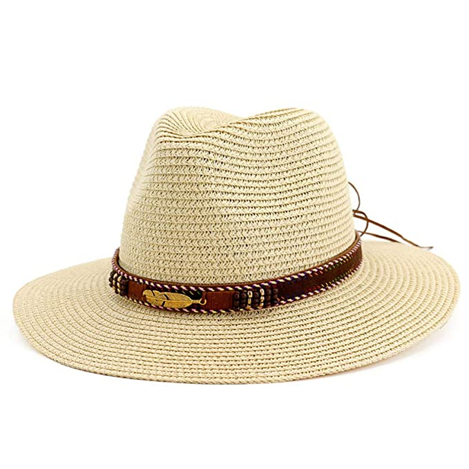 59fffdcd72243 Lisianthus Women Straw Fedora Hat - Wide Brim Beach Panama Sun Hat UPF 50+  Beige