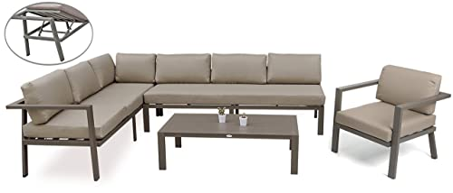 Outdoor Furniture Sectional Sofa Patio Conversation Sets No Assembly 4Pcs Aluminum Couch and Table All Weather Cushioned w Lounge Function