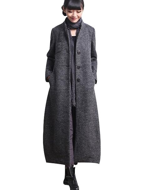 Youlee Damen Stehkragen Einreiher Mantel Lange Wollmantel Fit EU 36 42