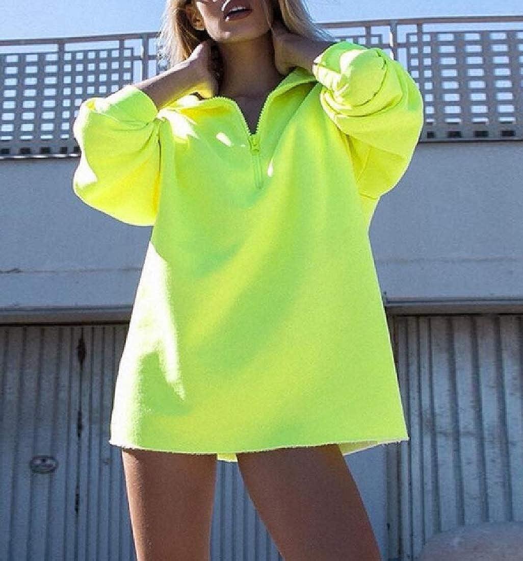 ARTFFEL Women Mid Length Loose Fit Pullover Pure Color Sweatshirt Top