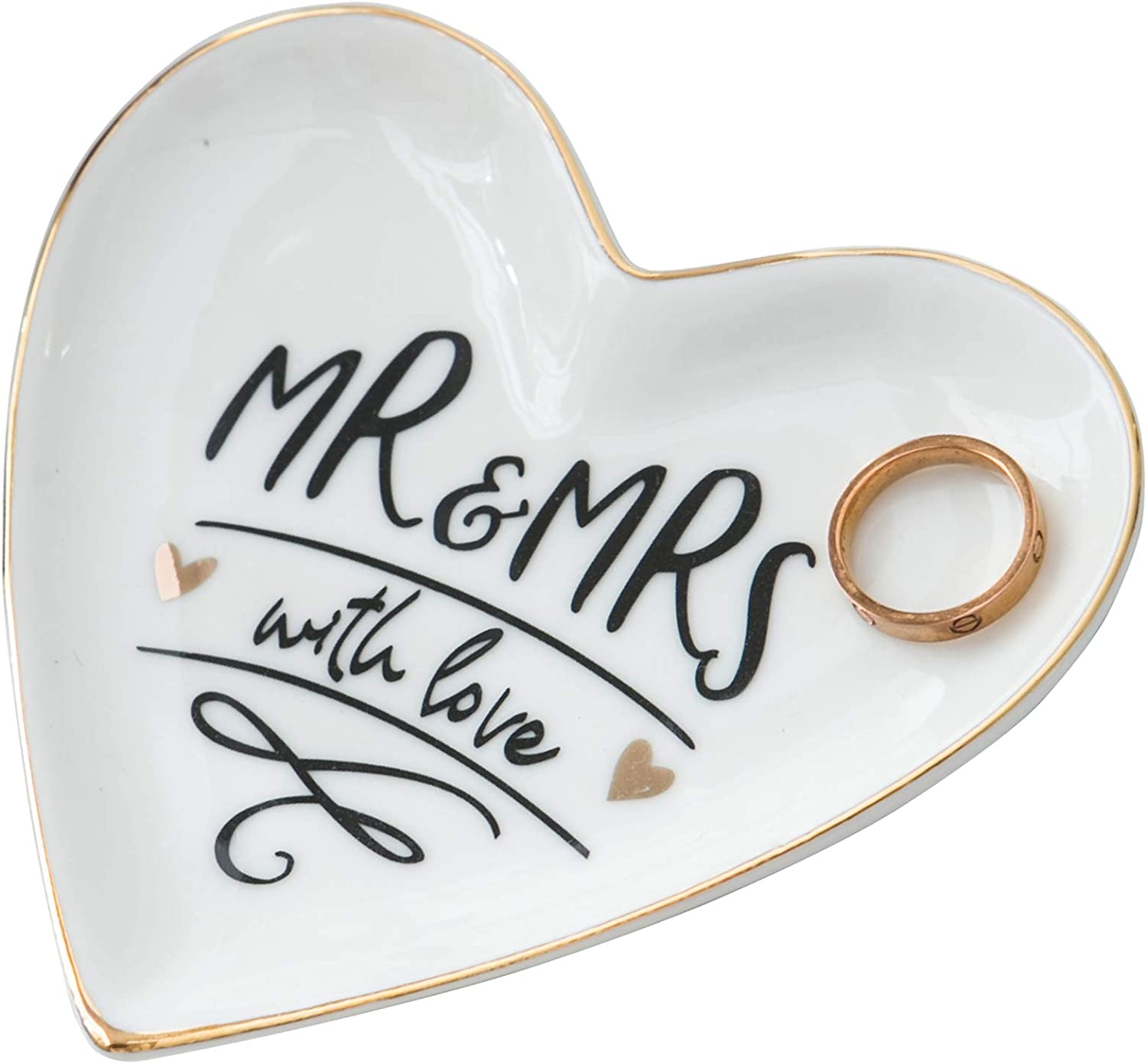 Kimdio Ring Dish Jewelry Holder Heart Shape Trinket Tray Ceramic Plate Mr and Mrs with Love Jewelry Organizer Home Decor Dish for Propose Marriage Birthday Wedding Mother's Day Christmas etc.