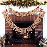 Wmbetter Burlap Merry Christmas Banner Christmas Burlap Banner for Home Christmas Decor