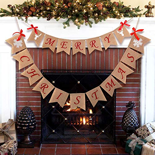 Jolik Merry Christmas Burlap Banner with 4 Red Bows - Merry Christmas Banner Decoration for Fireplace Wall Tree]()