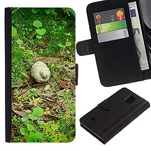 Billetera de Cuero Caso Titular de la tarjeta Carcasa Funda para Samsung Galaxy S5 Mini, SM-G800, NOT S5 REGULAR! / Nature Snail Green Forest Spring / STRONG