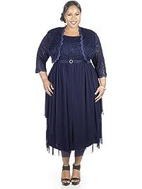 RM Richards Womens Plus Size Sequin Lace Jacket Dress