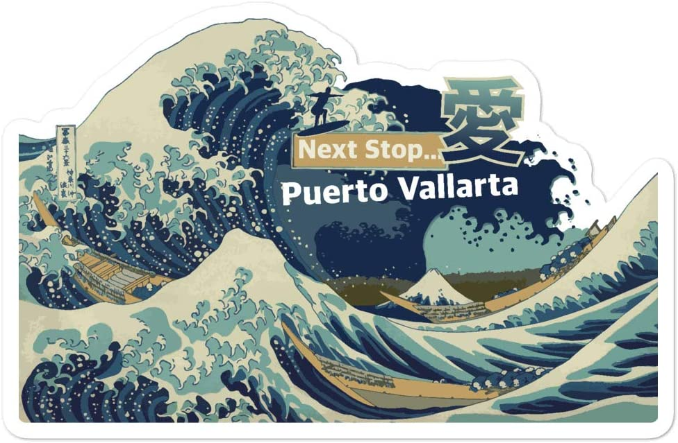 Passion Fury Puerto Vallarta, Mexico, Jalisco Quality Vinyl Sticker Flake, The Great Wave Off Kanagawa Kiss-Cut, 1x Large 5.5 Inch Wide, Laptop, Fridge, Lunchbox Sticker