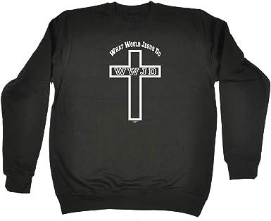 Funny Novelty Sweatshirt Jumper Top Cross What Would Jesus Do