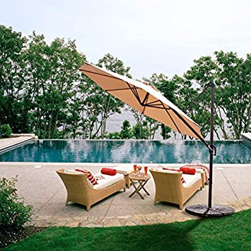 Grand Patio Enhanced 10 FT Aluminum Offset Umbrella, UV Protected Patio Cantilever Umbrella with Tilt, Champagne