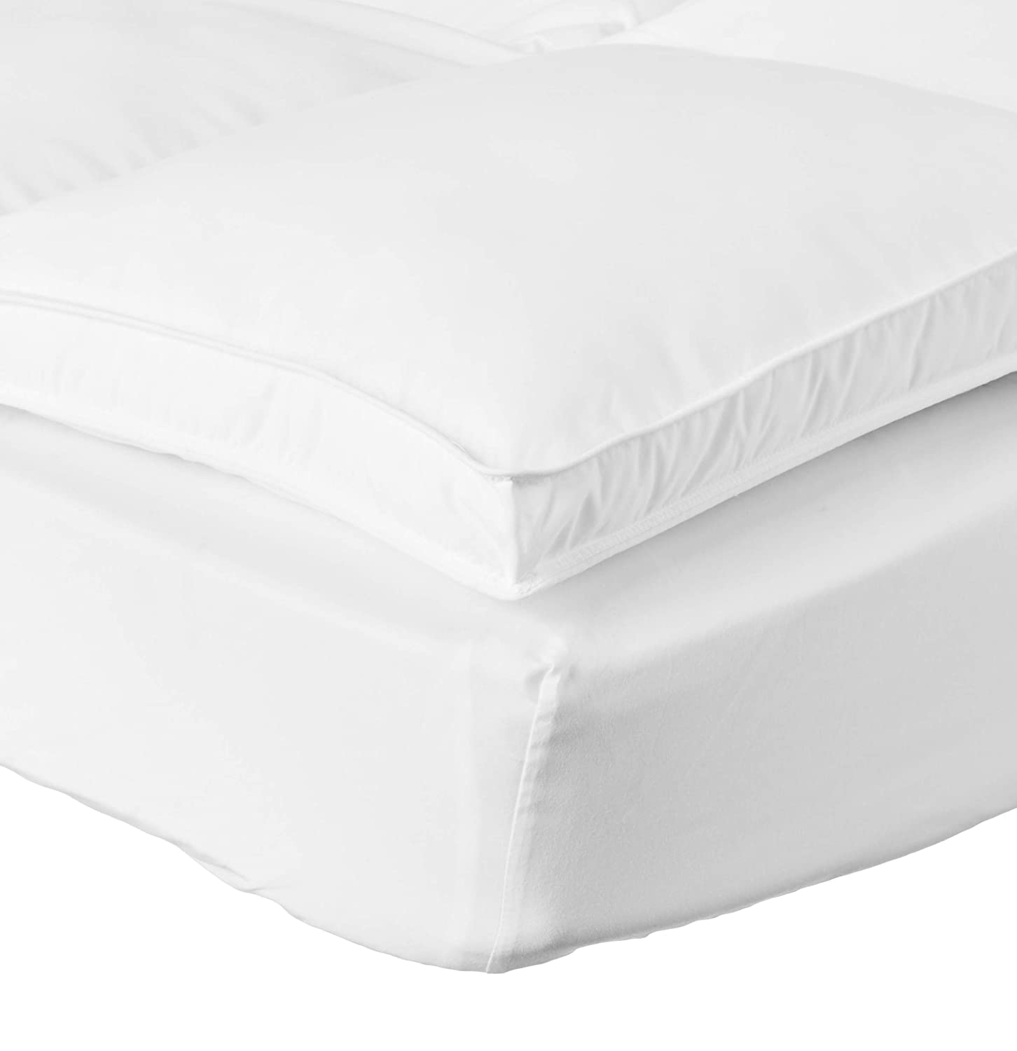 Superior Queen Mattress Topper, Hypoallergenic White Down Alternative Featherbed Mattress Pad – Plush, Overfilled, and 2 Thick