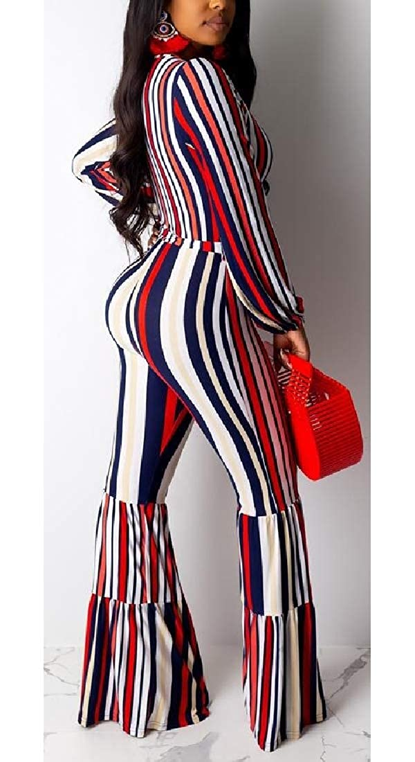 HTOOHTOOH Women V-Neck Long-Sleeves Stripe Print Casual Playsuits Palazzo Jumpsuits