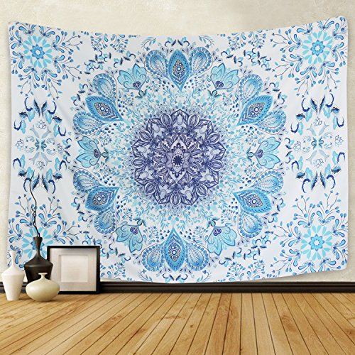 Indian Mandala Tapestry Wall Hanging Flower Psychedelic for Dorm Home Decor (51.2