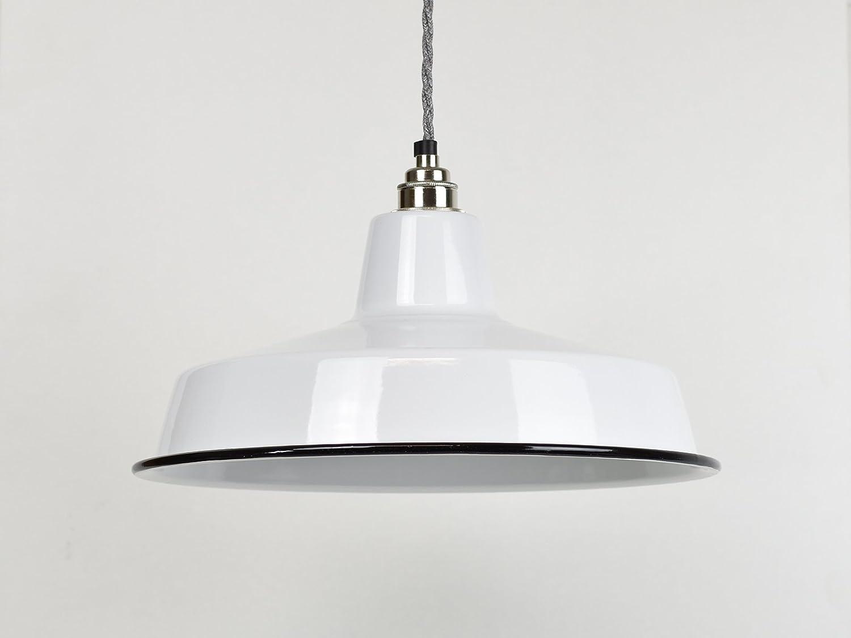 Pantalla de lámpara de techo, esmalte industrial grande, color blanco clásico, estilo vintage, de fábrica: Amazon.es: Iluminación