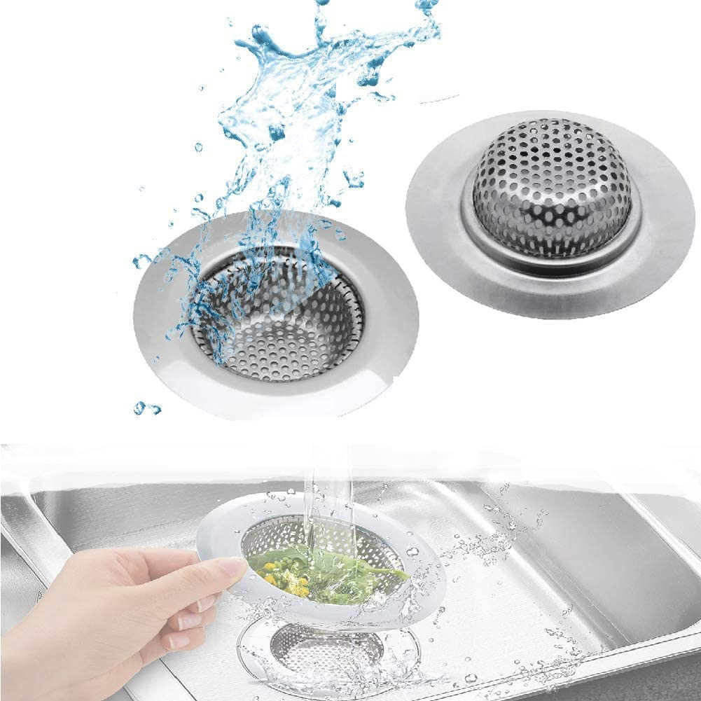 2 Pcs Stainless Steel Kitchen Sink Strainer Removable Heavy-Duty Drain Filter Perfect Durable Sink Basket for Kitchen Bathroom Basin Laundry Stop Hair Disposal Waste