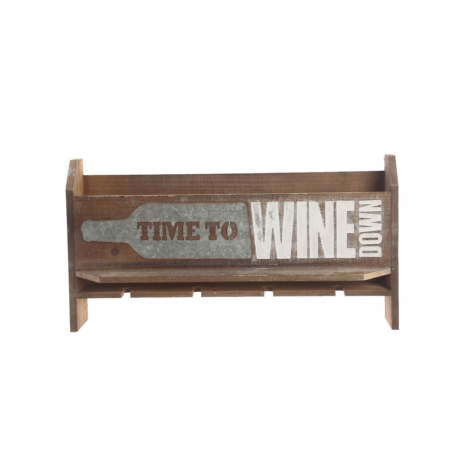 Ivy Home 4 Bottle Vintage Wall Mounted Wooden Wine Rack with 4 Long Stem Glass Holder