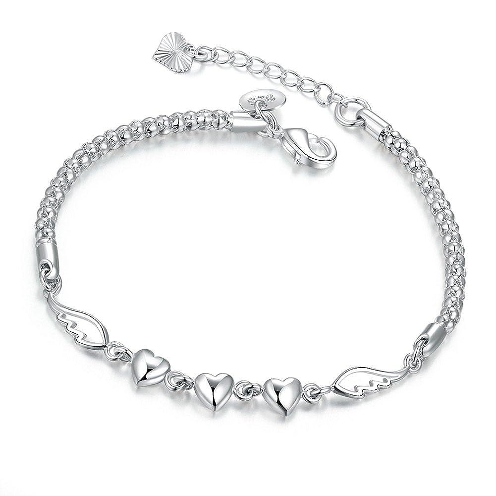 Bracelet de femme Bijoux fille ailes d'ange réglable avec Argent Plaqué- Amour Coeur Amitié d'anniversaire Cadeau pour les Adolescent Borong BRB007-wing