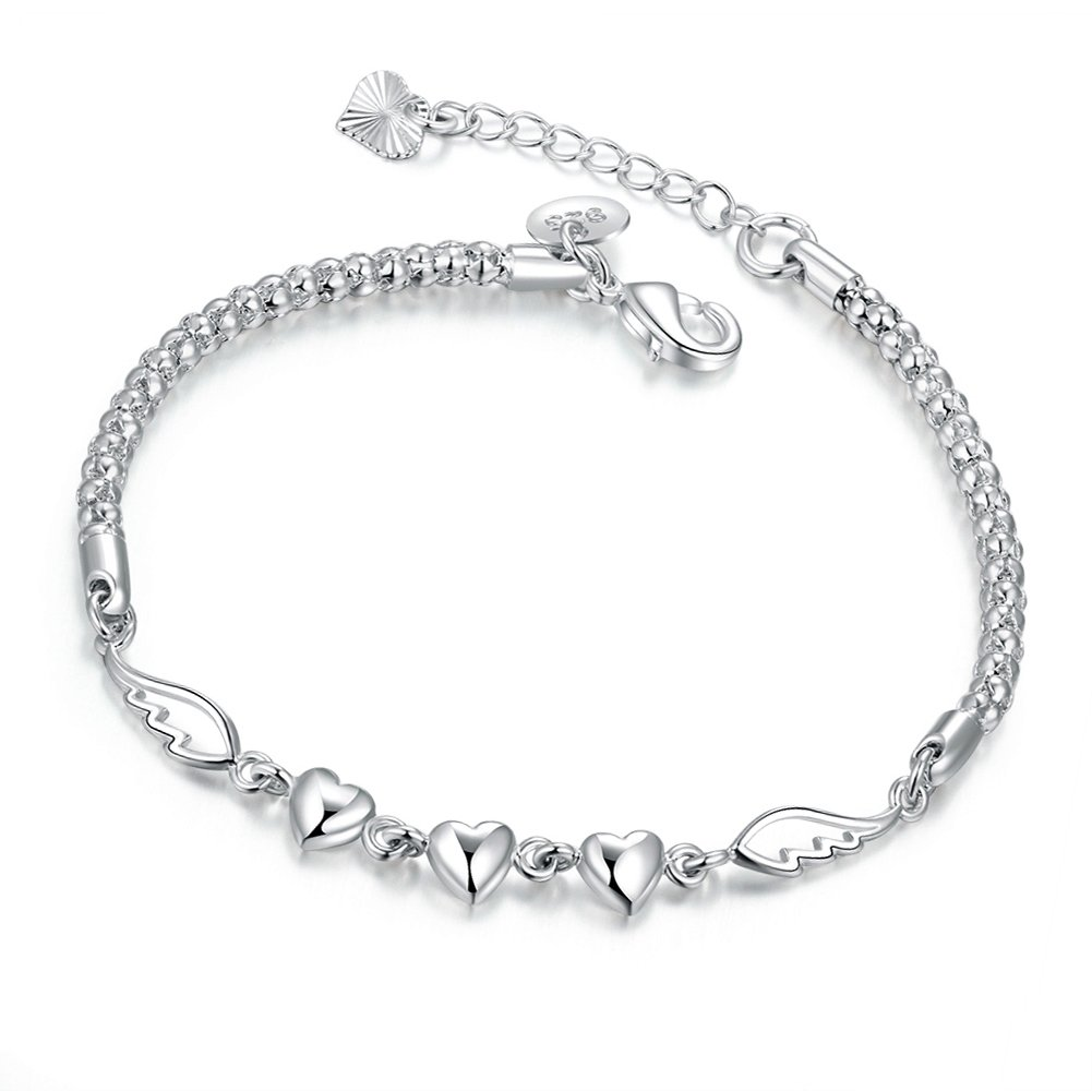 Ladies BraceletWomen Jewelry with Silver Plated Girls Angel Wing Heart Adjustable Chain Bracelets Friendship Gift for Teenager