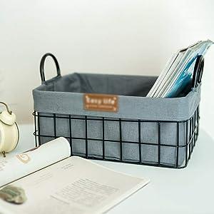 KANULAN Shoe Boxes Wrought Iron Storage Basket Storage Box Home Desktop Clothing/Toys/Food Sorting Box (Color : Gray, Size : 30x20x11cm)
